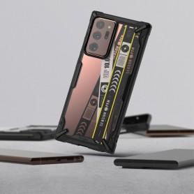 Husa Carcasa Spate pentru Samsung Galaxy Note 20 Ultra / Galaxy Note 20 Ultra 5G - Ringke Fusion X Design Ticket Band, Neagra Ri