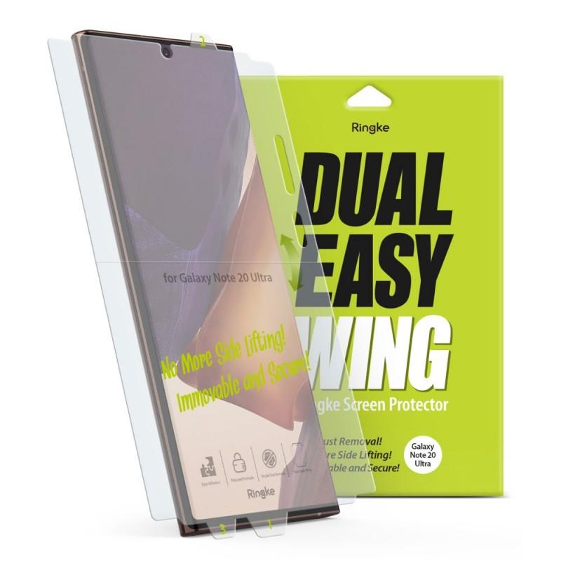 Folie Premium Full Cover Ringke Dual Easy Samsung Galaxy Note 20 Ultra / Galaxy Note 20 Ultra 5G, transparenta, 2 Bucati