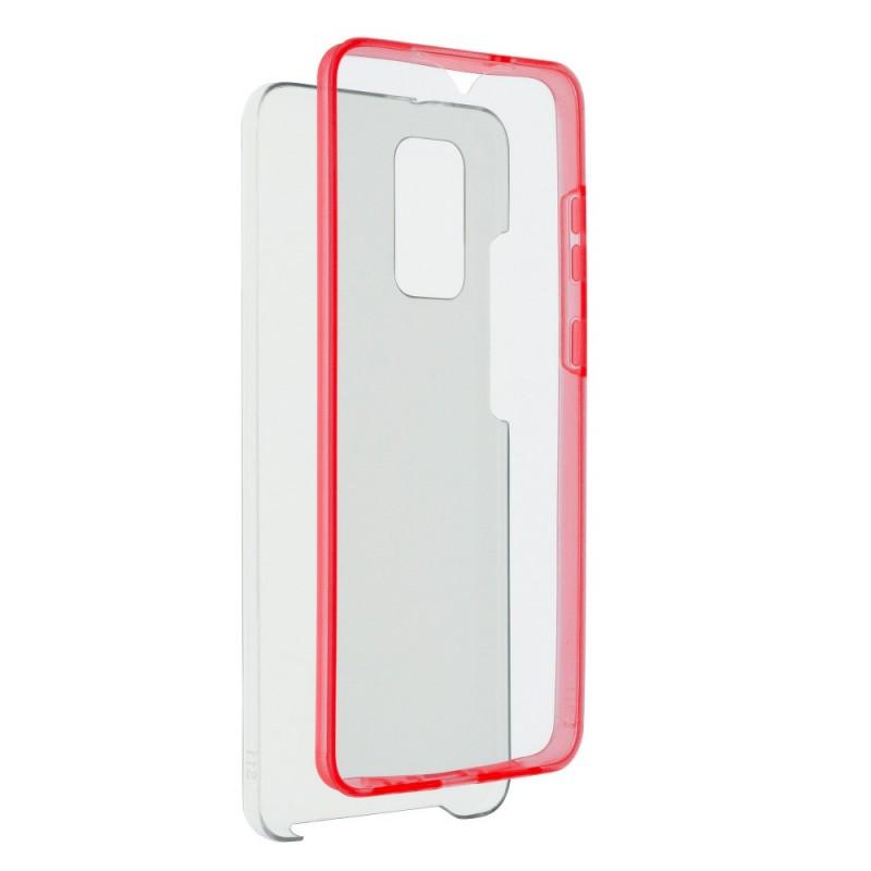 Husa Samsung Galaxy A42 5G - FullCover 360 (Fata + Spate), Transparenta cu margine Rosie  - 1