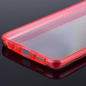 Husa Samsung Galaxy A42 5G - FullCover 360 (Fata + Spate), Transparenta cu margine Rosie  - 3