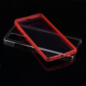 Husa Samsung Galaxy A42 5G - FullCover 360 (Fata + Spate), Transparenta cu margine Rosie  - 4