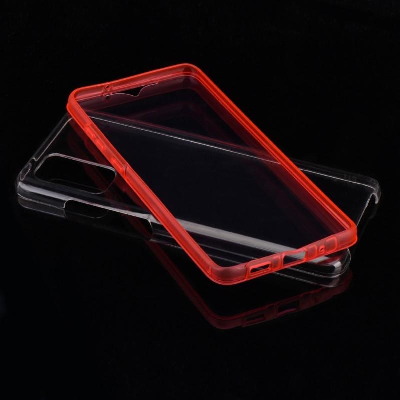 Husa Samsung Galaxy A42 5G - FullCover 360 (Fata + Spate), Transparenta cu margine Rosie - 2