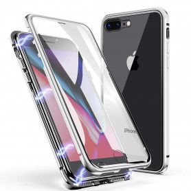 Husa Magnetica cu bumper din aluminiu si spate din sticla pentru iPhone 7 Plus / 8 Plus  - 3