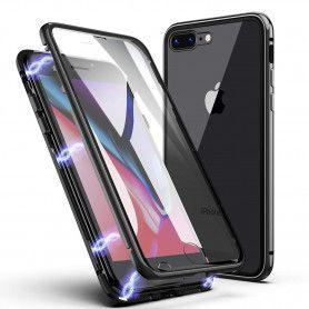 Husa Magnetica cu bumper din aluminiu si spate din sticla pentru iPhone 7 / 8  - 1