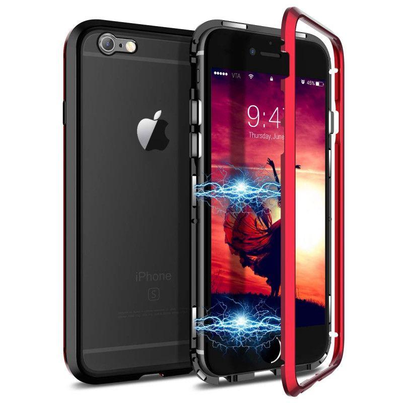 Husa Magnetica cu bumper din aluminiu si spate din sticla pentru iPhone 6 Plus / 6S Plus