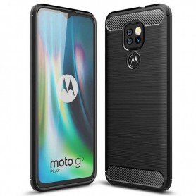 Husa Carcasa Spate pentru Motorola Moto E7 Plus / Moto G9 Play - Tpu Carbon Design - Neagra  - 1