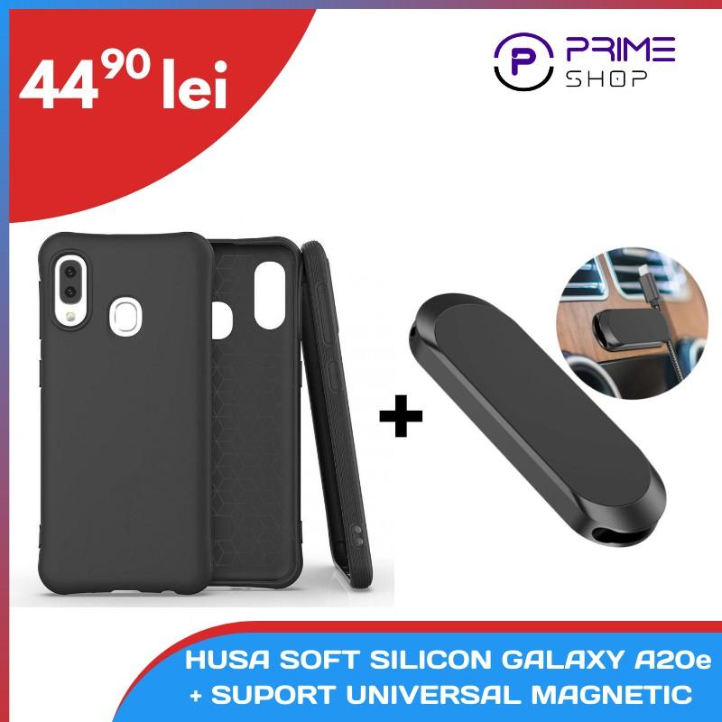 [Pachet] - Husa Soft Silicon pentru Samsung Galaxy A20e - Neagra + Suport Universal Magnetic  - 1