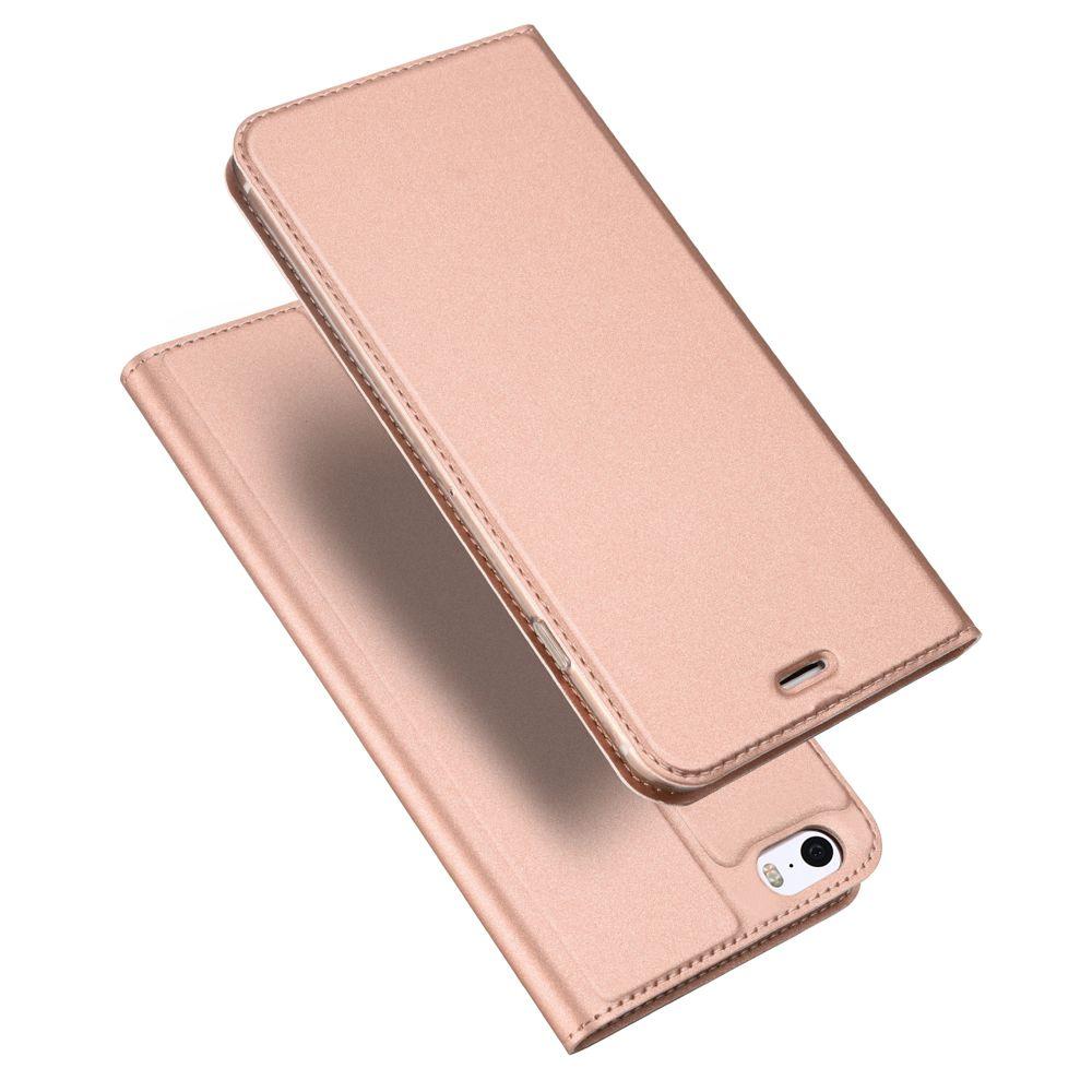 Husa Flip Tip Carte DuxDucis Skin Pro pentru iPhone 5 / 5S / SE , Rose Gold