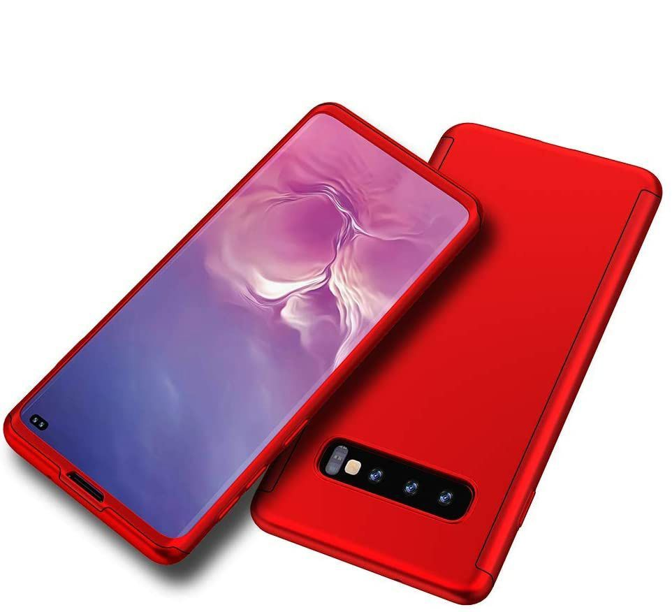 Husa 360 Protectie Totala Fata Spate pentru Samsung Galaxy S10+ Plus, Rosie