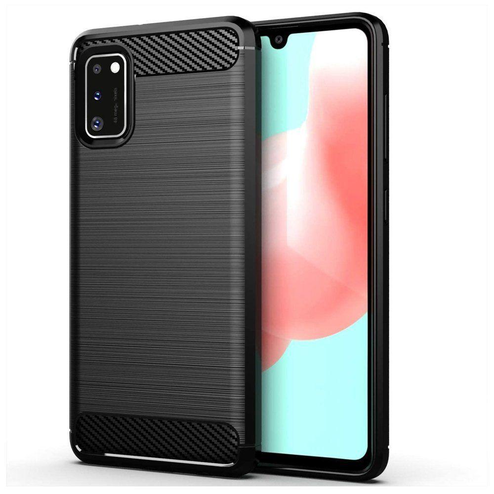 Husa Tpu Carbon Fibre pentru Samsung Galaxy A41, Neagra