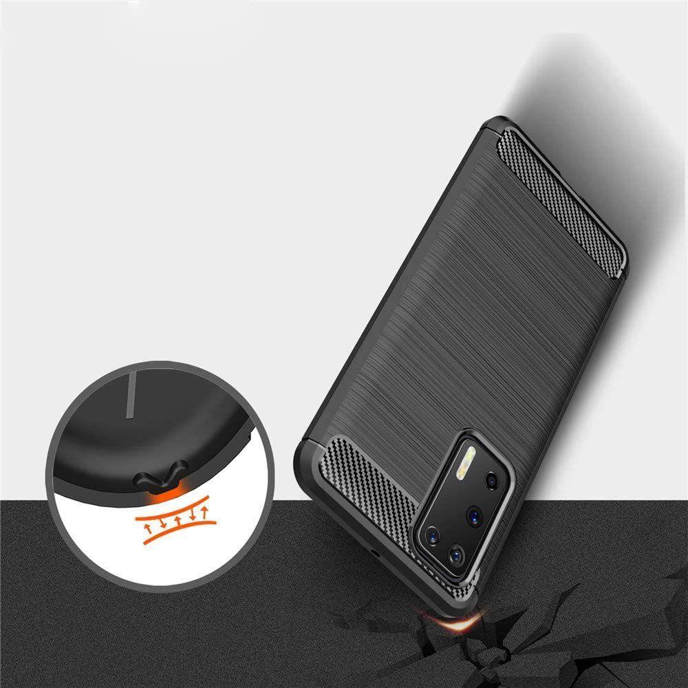 Husa Tpu Carbon Fibre pentru Huawei P40, Neagra