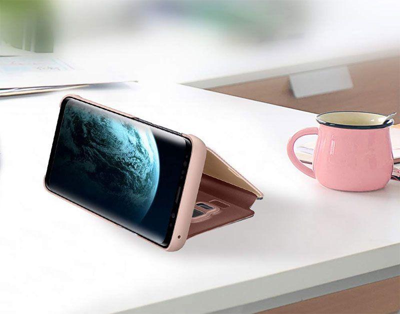 husa-flip-mirror-stand-roz-auriu