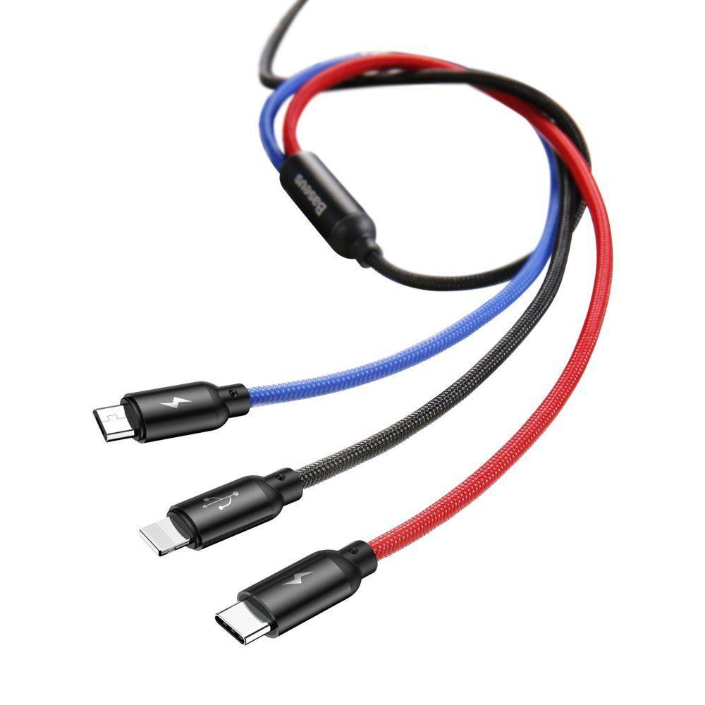 Cablu de date, incarcare 3 in 1, Baseus, Micro-USB, USB-C, Lightning - 5
