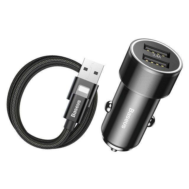 Incarcator Auto, Baseus Mini , 2 x Usb + Cablu Usb Lightning - 1