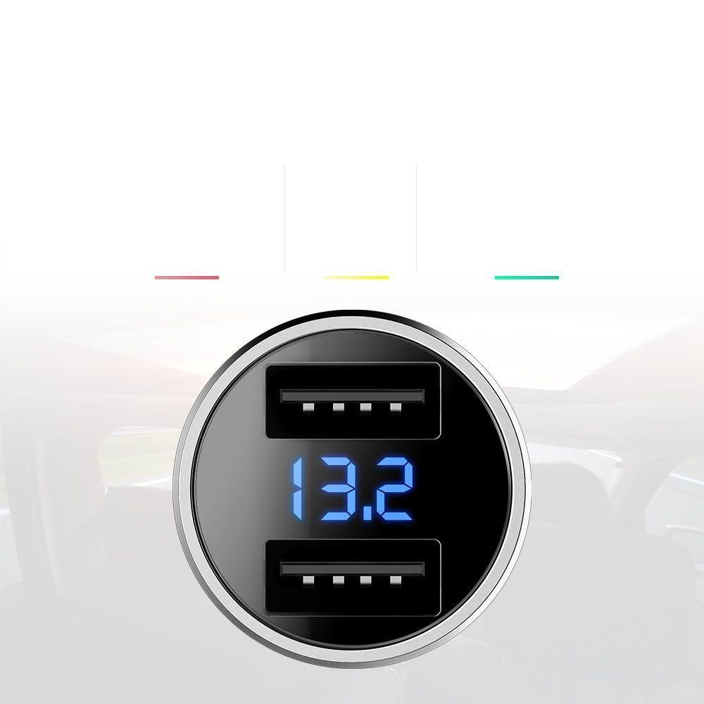 Incarcator Auto, Rock H2 Led, 2 x Usb 3.4A Fast Charge - 5