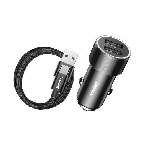 Incarcator telefon Auto, Baseus Mini , 2 x Usb + Cablu Usb Tip C - 1