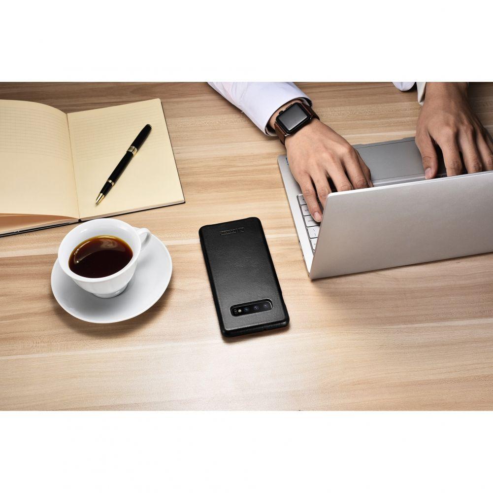 Husa Telefon Samsung S10+ Plus, Icarer Vintage Flip Piele Naturala, Negru - 1