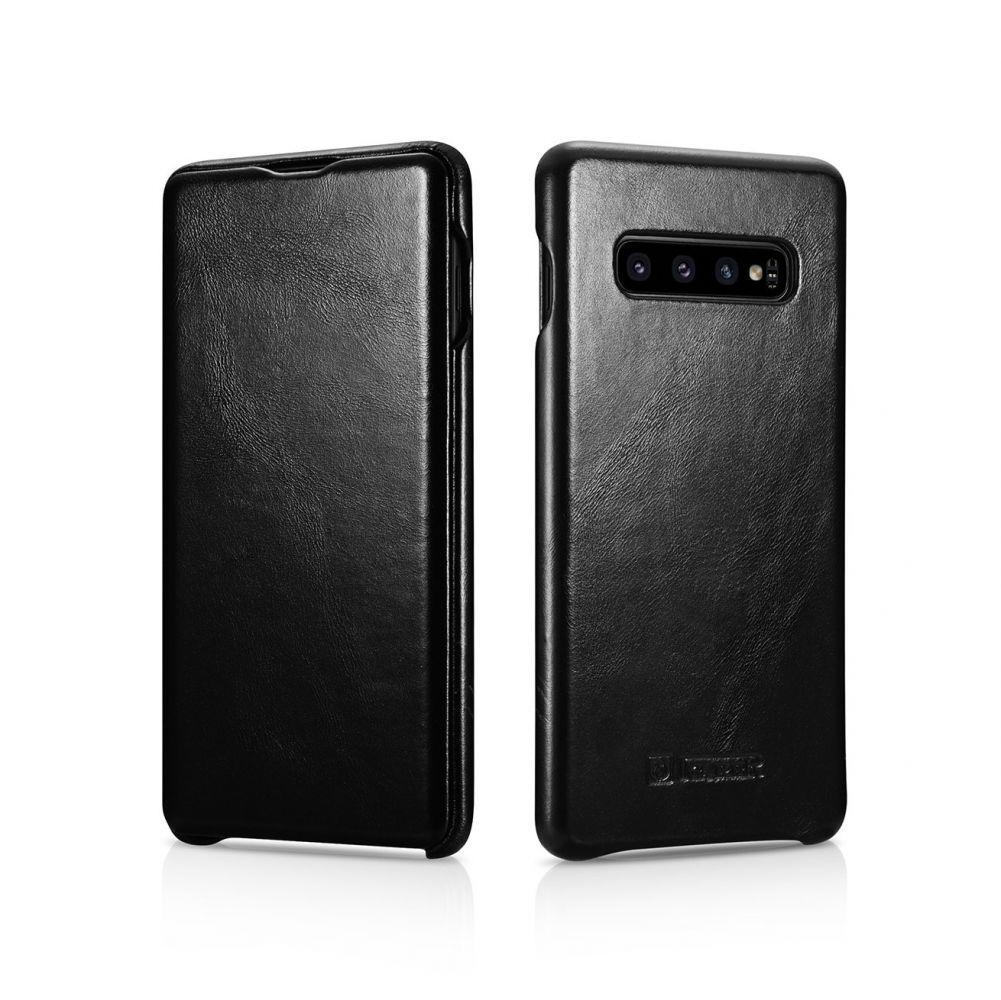 Husa Telefon Samsung S10+ Plus, Icarer Vintage Flip Piele Naturala, Negru - 2