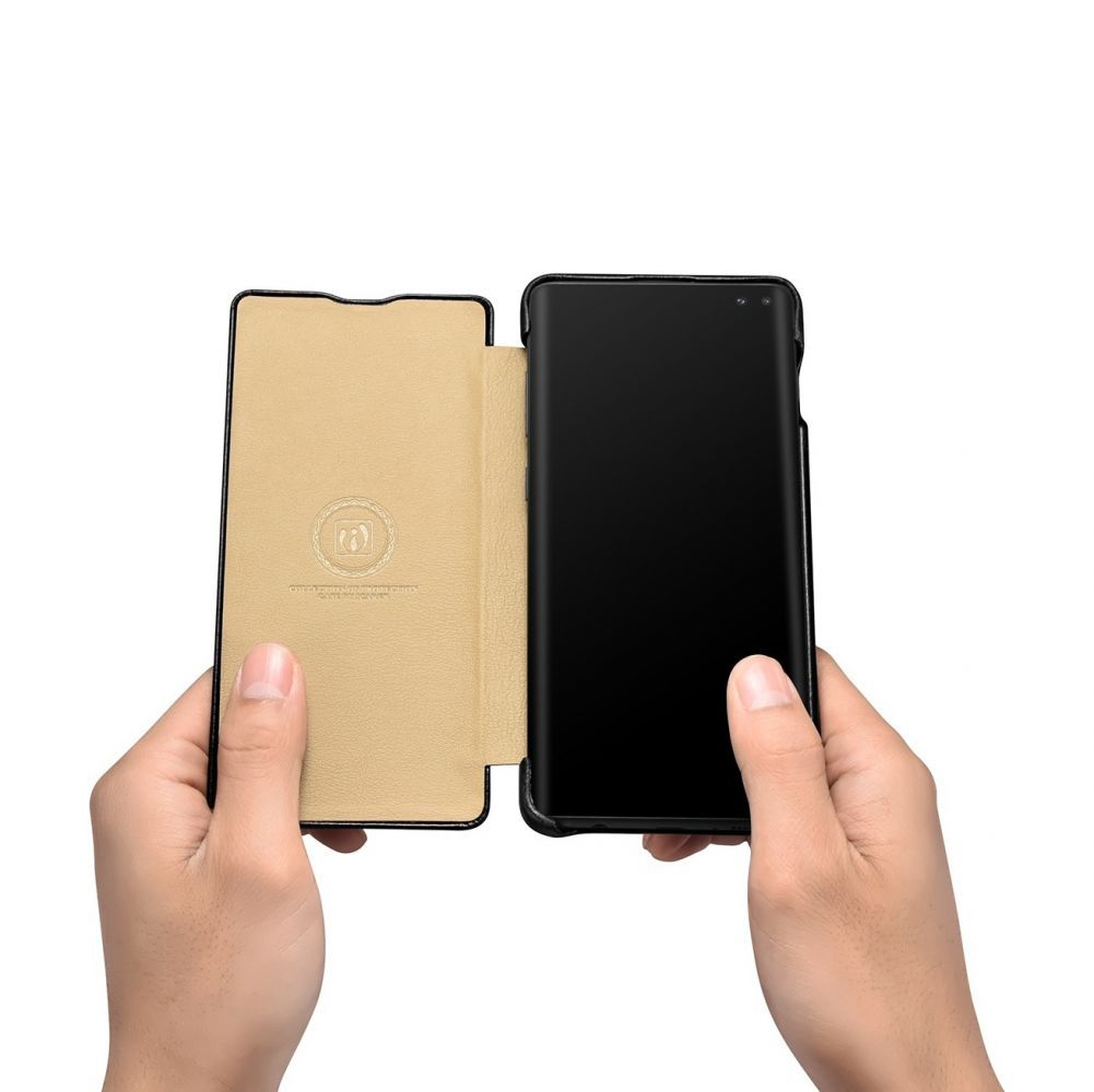 Husa Telefon Samsung S10+ Plus, Icarer Vintage Flip Piele Naturala, Negru - 9