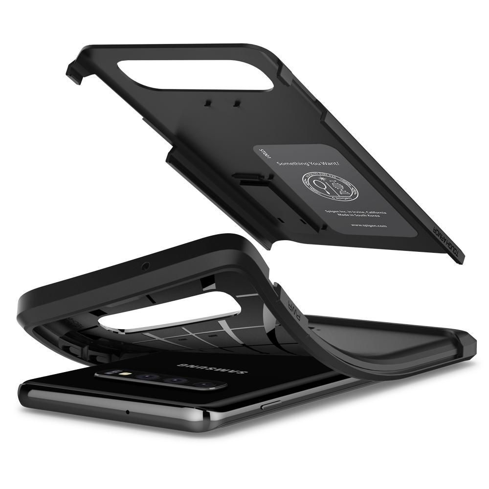 Husa Telefon Samsung S10+ Plus, Spigen Tough Armor, Negru - 4