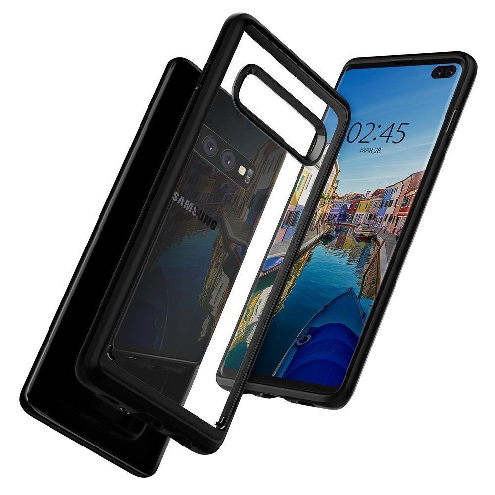 Husa Telefon Samsung S10+ Plus, Spigen Ultra Hybrid, Negru - 3