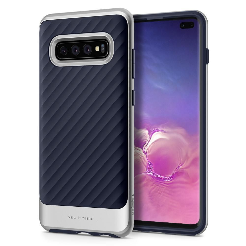Husa Telefon Samsung S10+ Plus, Spigen Neo Hybrid, Artic Silver - 2