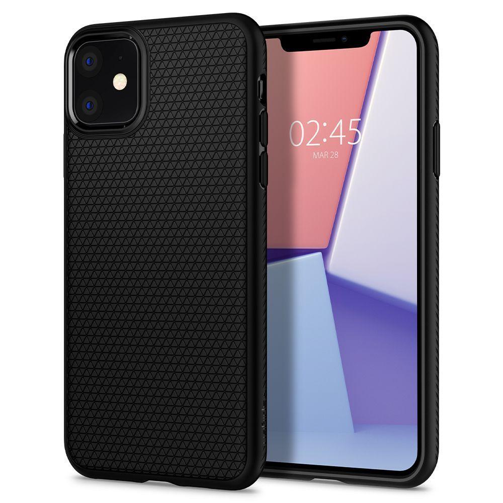 Husa Telefon iPhone 11 XI, Spigen Liquid Air, Matte Black - 8