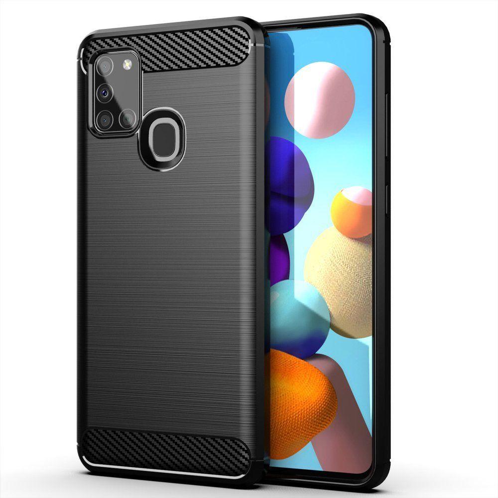 Husa Tpu Carbon Fibre pentru Samsung Galaxy A21s, Neagra