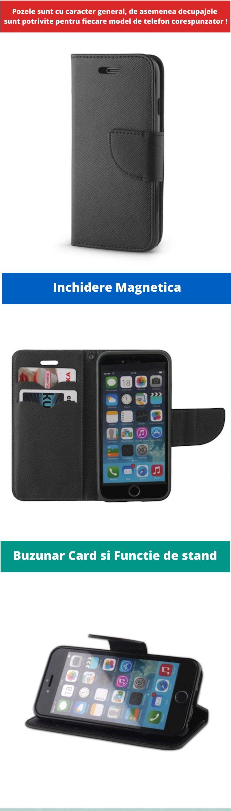 Husa Flip tip Carte Fancy pentru Samsung Galaxy A51, Negru