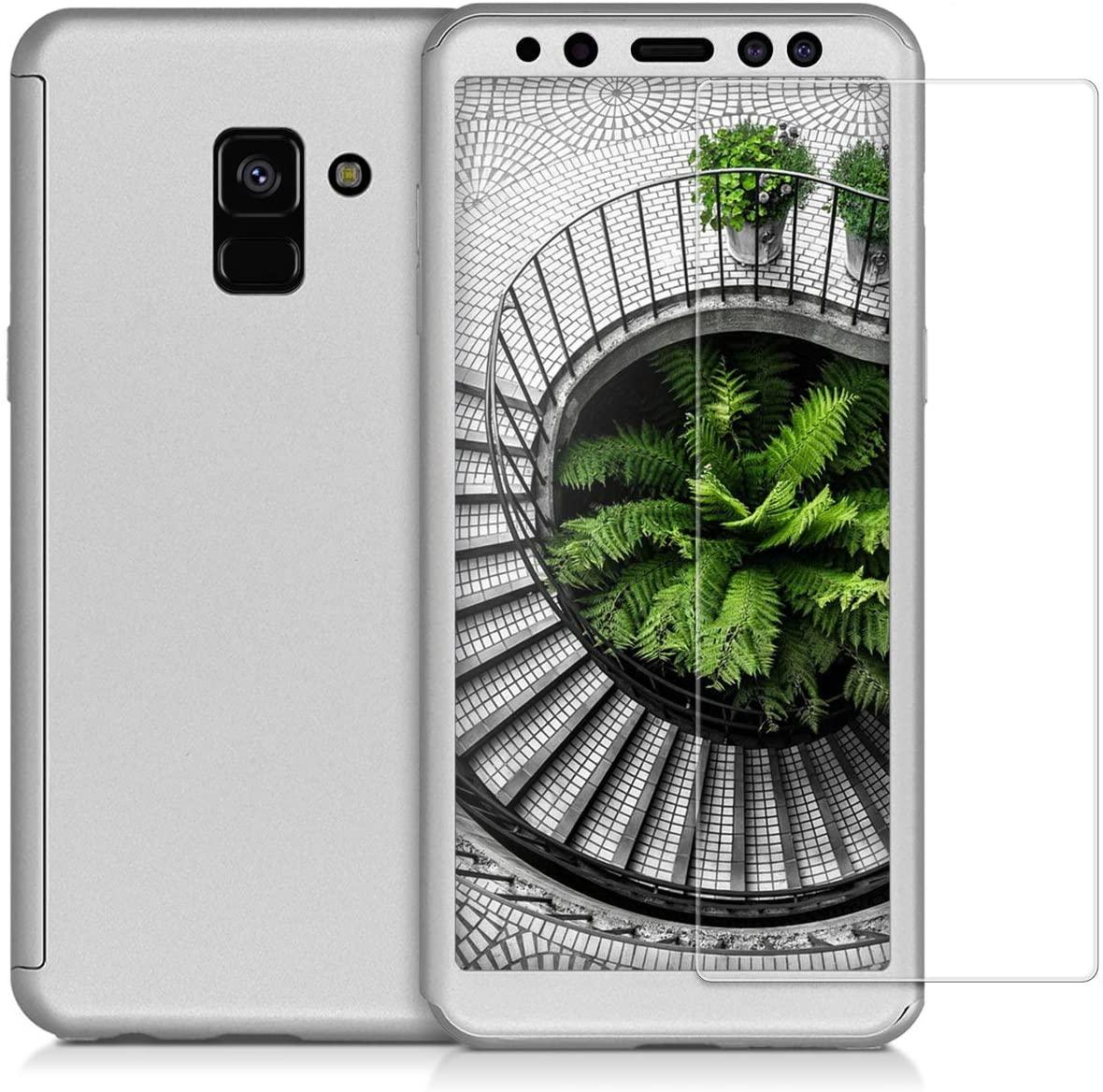 Husa 360 Protectie Totala Fata Spate pentru Samsung Galaxy A8 (2018) , Argintie