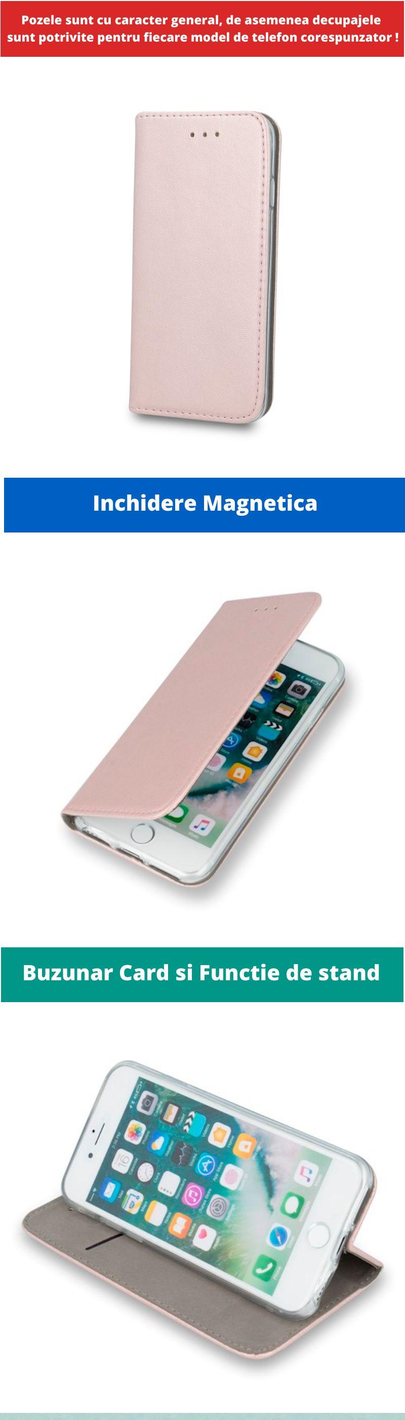 Husa Flip tip Carte Smart Piele Eco, pentru Samsung Galaxy A10, Roz / Auriu