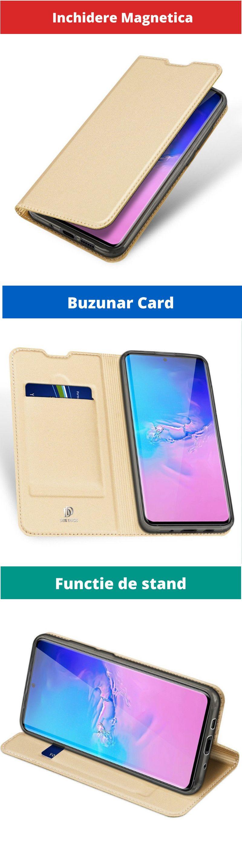 Husa Flip Tip Carte DuxDucis Skin Pro pentru Samsung S20, Aurie
