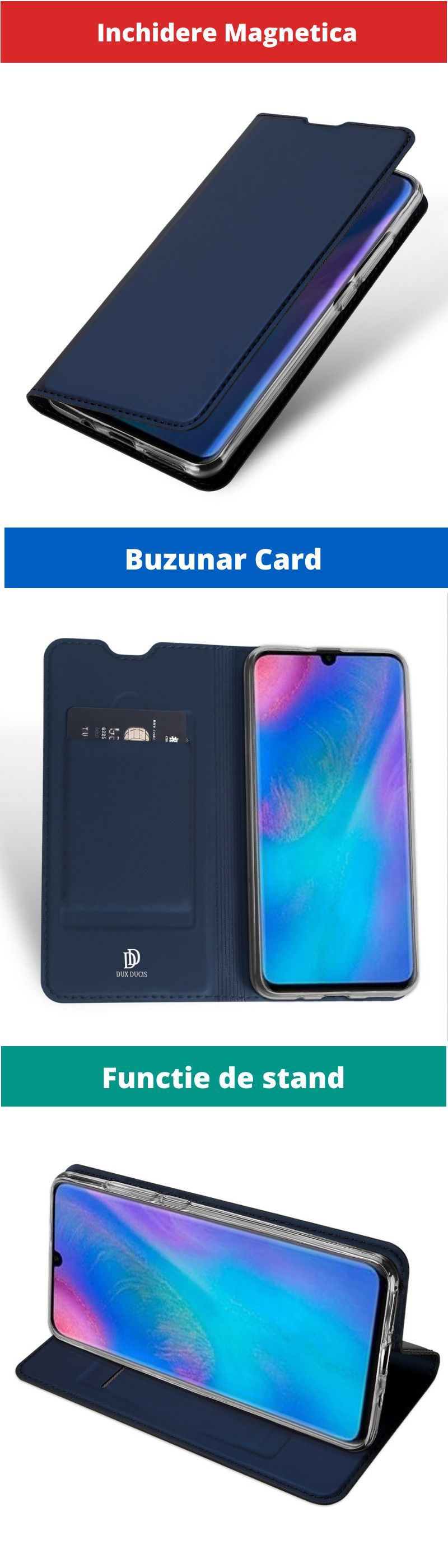 Husa Flip Tip Carte DuxDucis Skin Pro pentru Huawei Mate 20 Pro , Midnight Blue