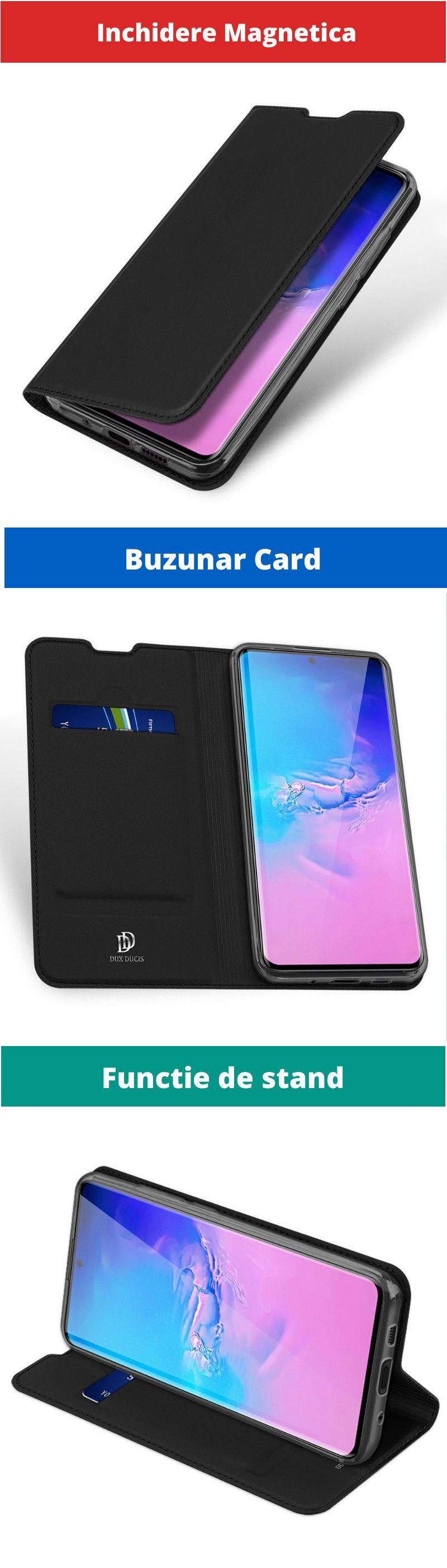 Husa Flip Tip Carte DuxDucis Skin Pro pentru Samsung Note 10+ Plus, Neagra