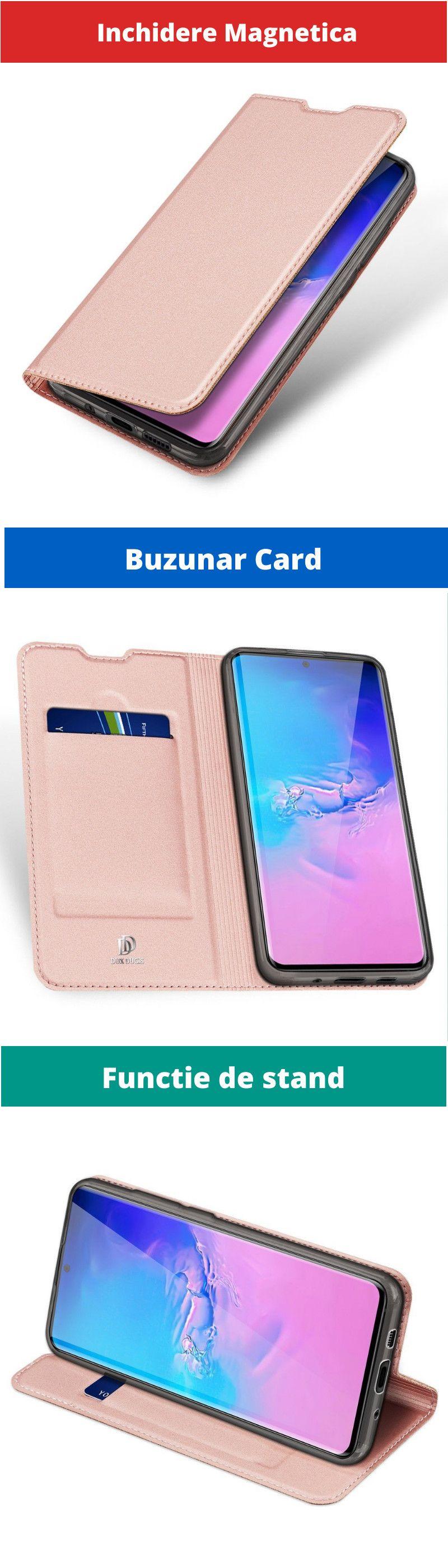 Husa Flip Tip Carte DuxDucis Skin Pro pentru Samsung Galaxy S10 , Rose Gold